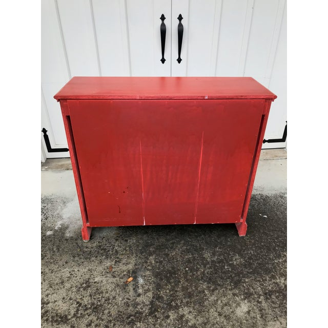 Rustic Red Beadboard Interior Cabinet For Sale - Image 4 of 7