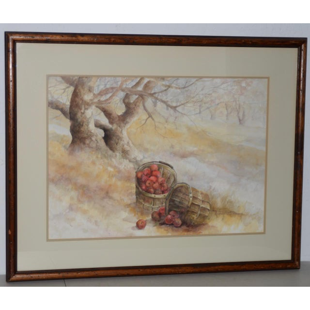 "Watercolor Maxine Remont Macway (American, 20th C.) ""Forgotten Baskets"" Original Watercolor For Sale - Image 7 of 7"