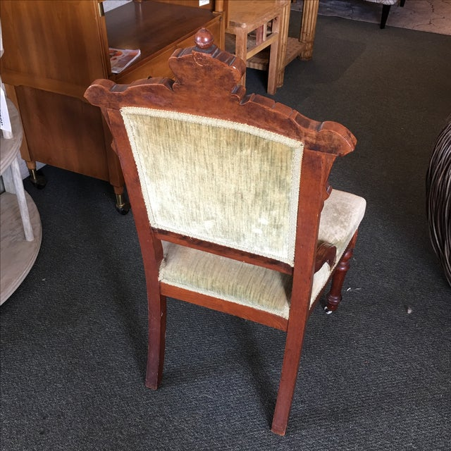 Antique Green Velvet Accent Chair - Image 5 of 7