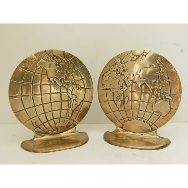 Solid Brass Globe Bookends - A Pair - Image 6 of 6