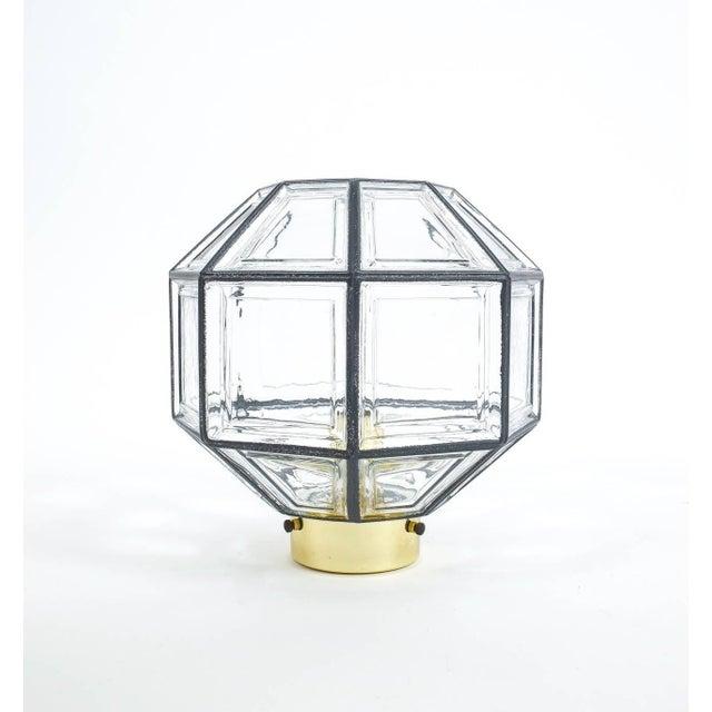 Glashütte Limburg Set of Three Clear Glass Lantern Flush Mounts Lamps by Limburg For Sale - Image 4 of 8