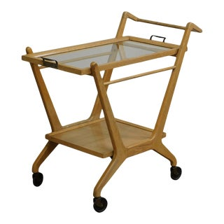 Mid Century Modern Italian 2 Tier Trolley Bar Cart For Sale