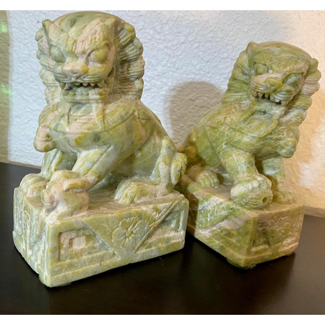 Stone Vintage Hand Carved Stone Foo Dogs - a Pair For Sale - Image 7 of 7