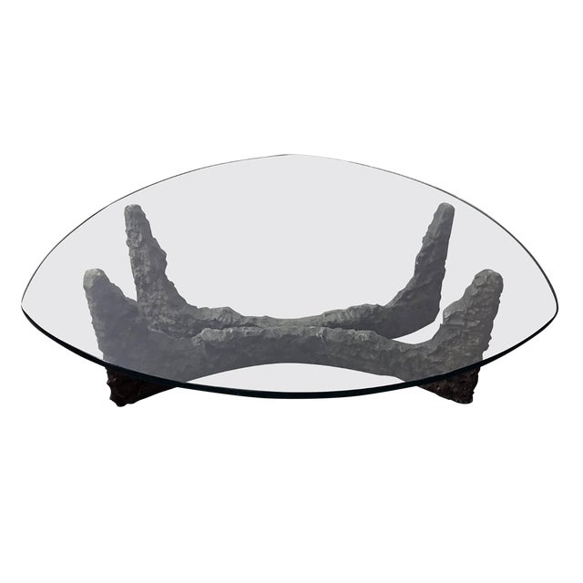 Paul Evans Style Bronze Brutalist Coffee Table For Sale