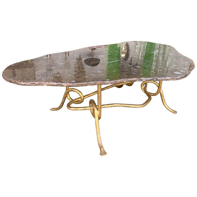 Coffee Table Gilt Iron Fossil Stone Top by Pinguaud, France, 1980s For Sale - Image 13 of 13