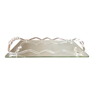 Dorothy Thorpe Lucite Mirrored Tray For Sale