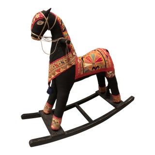 Vintage Indian Fabric Rocking Horse
