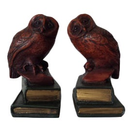 Vintage Cast Owls on Stacked Books Library Hand Painted Bookends - a Pair For Sale