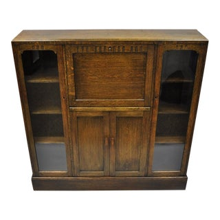 Goodalls Mission Arts & Crafts English Oak Drop Front Secretary Desk Bookcase For Sale