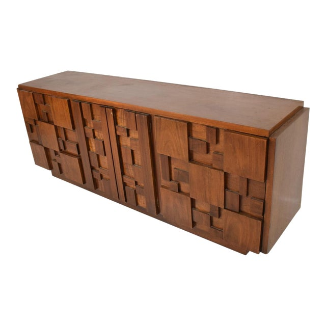 Mid-Century Modern Brutalist Patchwork Walnut Tiles Dresser by Lane For Sale