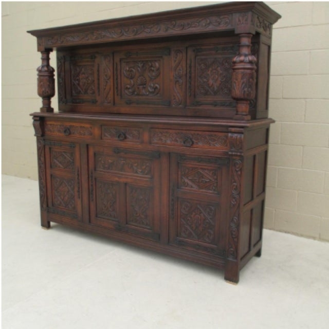 Anglo-Indian French Antique Oak Carved Court Cupboard Sideboard Cabinet For  Sale - Image 3 - French Antique Oak Carved Court Cupboard Sideboard Cabinet Chairish