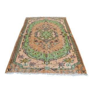 Modern Turkish Oushak Handwoven Green and Orange Wool Floral Rug