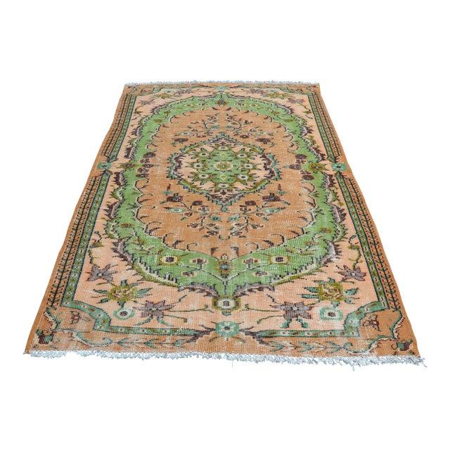 Modern Turkish Oushak Handwoven Green and Orange Wool Floral Rug For Sale