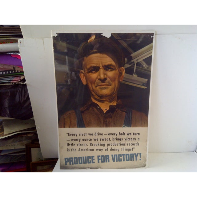 """Vintage World War II Victory Poster """"The Iron Worker,"""" Form No. 18 """"Produce For Victory"""" -- """"Every Riot We Drive""""..."""