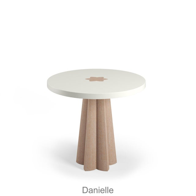 Contemporary Danielle Side Table - Natural Cerused Oak - Coral Dust For Sale - Image 3 of 6
