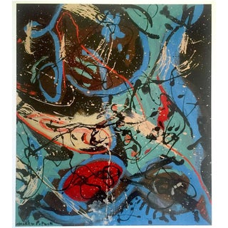 "Jackson Pollock Foundation Abstract Expressionist Collector's Lithograph Print "" Composition With Pouring II "" 1943 For Sale"