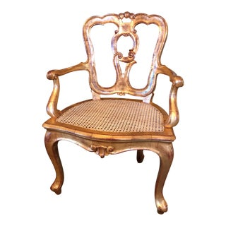 Late 19th Century Antique Hand Carved Venetian Arm Chair For Sale