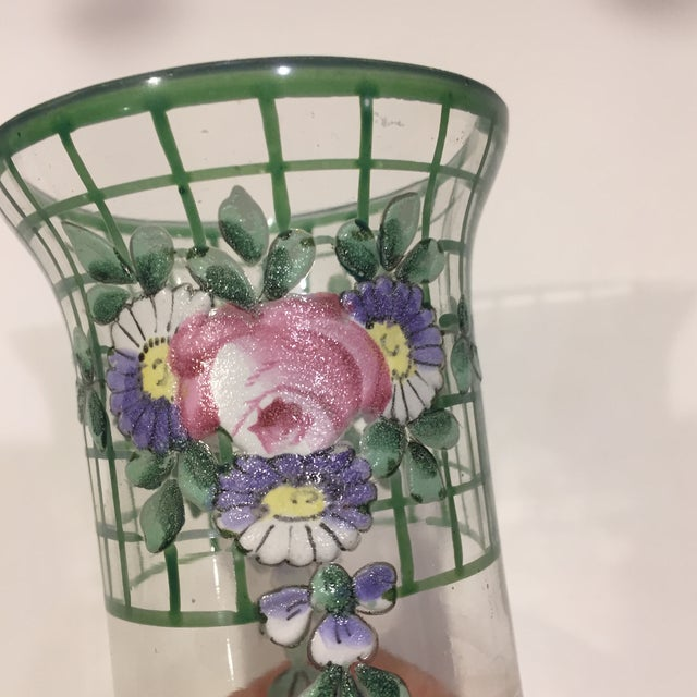 Glass Antique Bohemian Hand-Painted High Enamel Glass Vase For Sale - Image 7 of 13