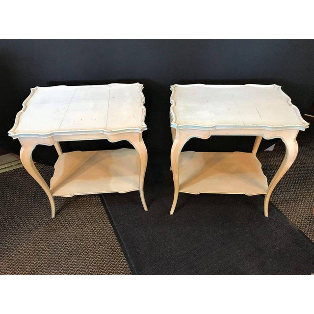 Hollywood Regency Distressed Paint Decorated Maison Jansen Side Tables or Night Tables - a Pair For Sale - Image 3 of 12