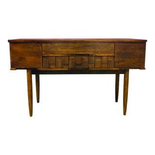 Vintage Walnut Brutalist Console Table For Sale