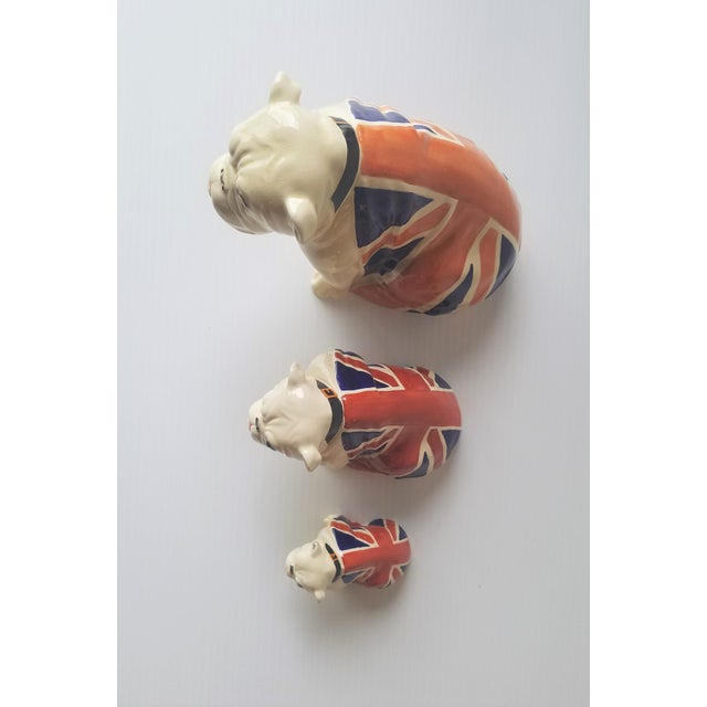 White 1940s Royal Doulton Winston Churchill English Bulldogs / Union Jack Bulldogs - Set of 3 For Sale - Image 8 of 13
