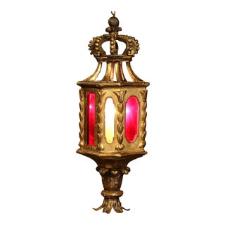 18th Century Italian Carved Giltwood Three-Light Lantern With Stained Glass