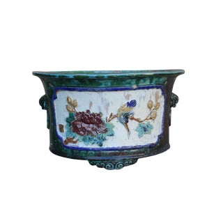 Chinese Ceramic Dimensional Flower Birds Round Green Glaze Planter For Sale