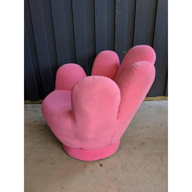 2000 - 2009 Boho Chic Pink Hand Shaped Swivel Lounge Chair For Sale - Image 5 of 11