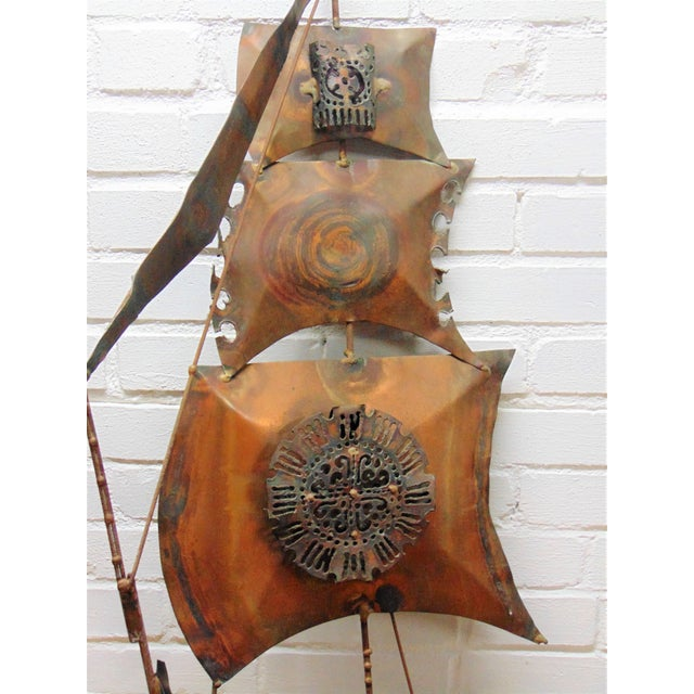 Vintage Copper Ship Wall Sculpture - Image 4 of 5