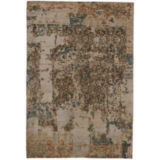 """Pasargad N Y Modern Wool & Bamboo Silk Hand Knotted Area Rug - 5'1"""" X 7'5"""" For Sale"""