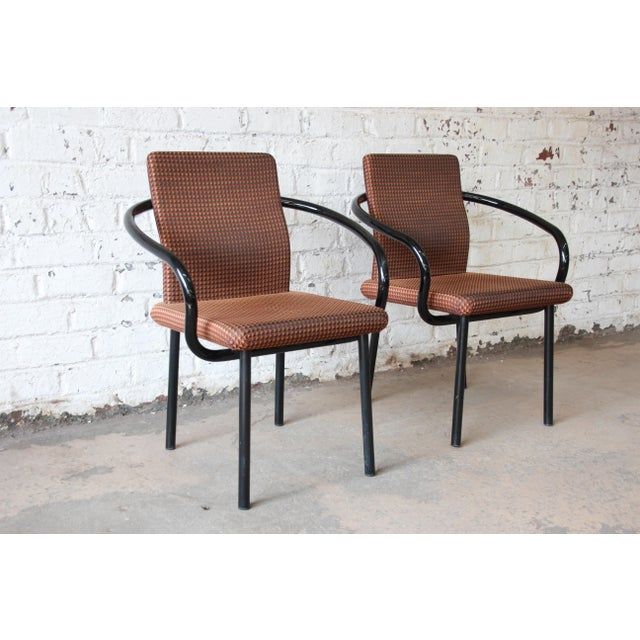 """Mid-Century Modern Ettore Sottsass for Knoll """"Mandarin"""" Armchairs - a Pair For Sale - Image 3 of 11"""