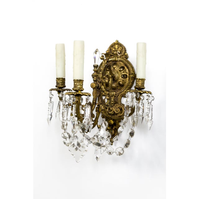 Gold Highly Detailed Belle Epoque Style Sconces (Pair) For Sale - Image 8 of 13