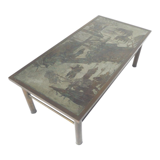 Philip & Kelvin Laverne Etched Bronze Coffee Table For Sale