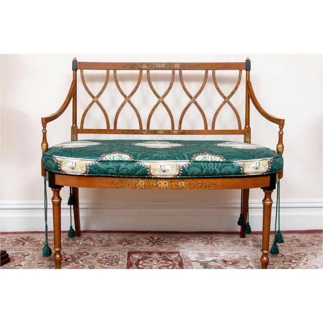 Early 20th Century Satinwood Hand-Painted Cane Settee For Sale - Image 12 of 12