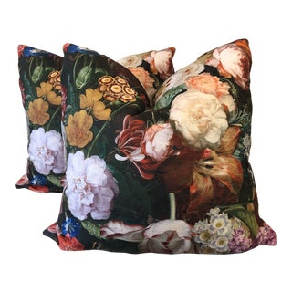 "Bold Floral Printed Velvet 22"" Pillows-A Pair For Sale"