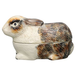 French Majolica Rabbit Tureen For Sale