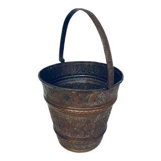 Anglo-Raj Mughal Metal Copper Vessel Bucket For Sale