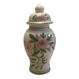 Chinese Green and Pink Floral Ginger Jar