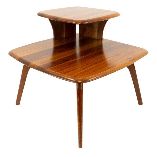 Mid CenturyModern Walnut Corner Side Table For Sale