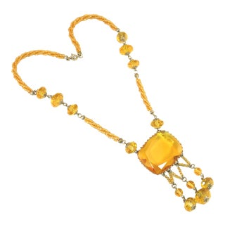 Edwardian Carved Citrine Crystal Necklace, Circa 1910 For Sale