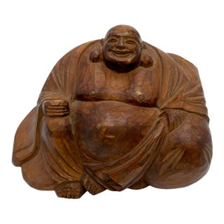 Vintage Hand-Carved Mahogany Wooden Smiling Buddha Figurine For Sale