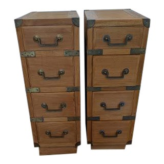 1970's Vintage Campaign Style Teak and Brass Nightstands-a Pair For Sale