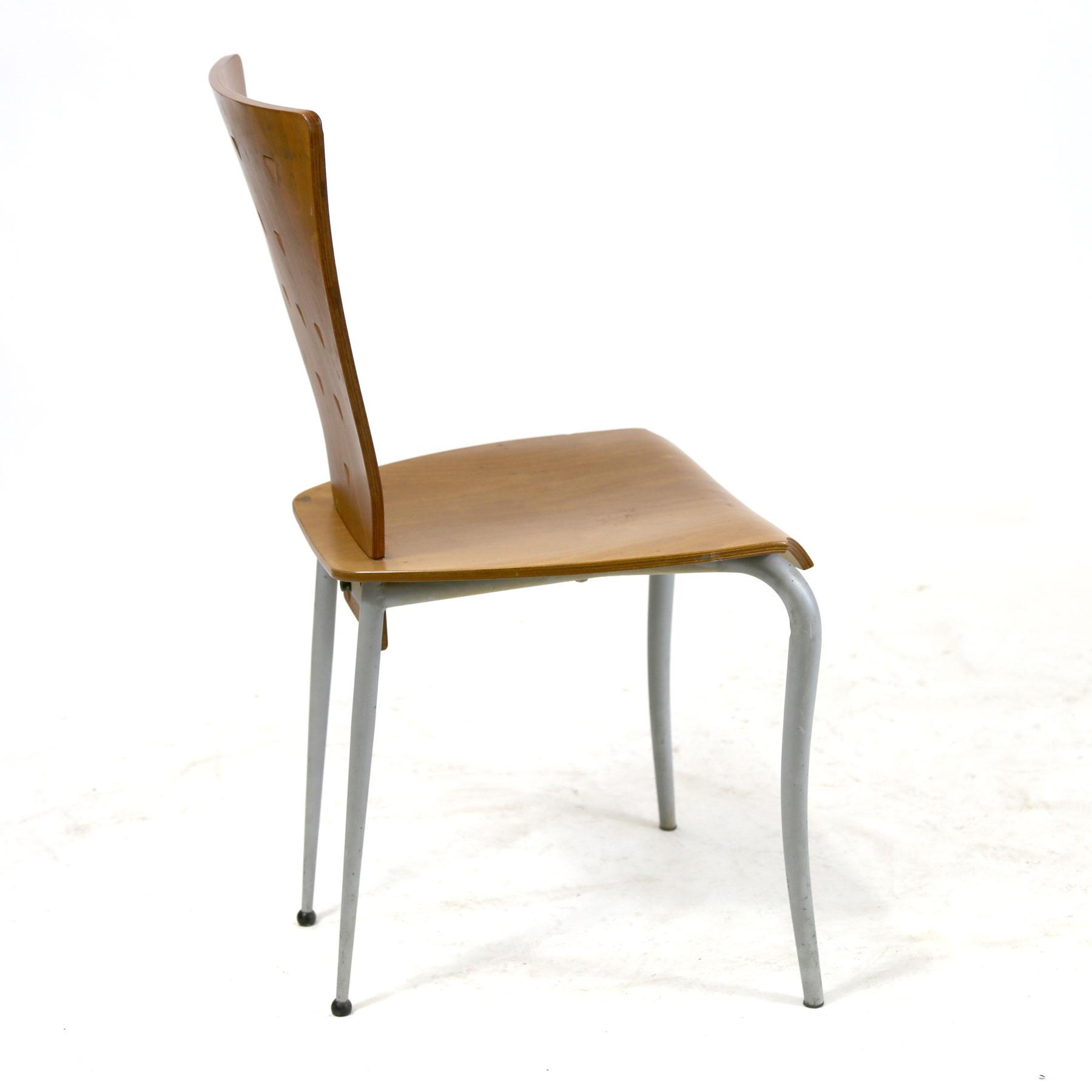 Memphis Group Italian Post Modern Memphis Style Side Chair With Molded  Plywood Back U0026 Seat Triangle