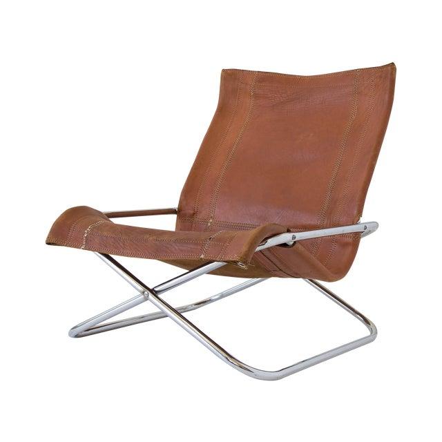 Sueki Uchida Leather Sling Chair For Sale