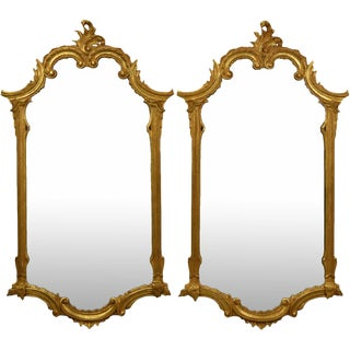 LaBarge Gilt C-Scroll Motif Carved Wood Wall Mirrors - A Pair