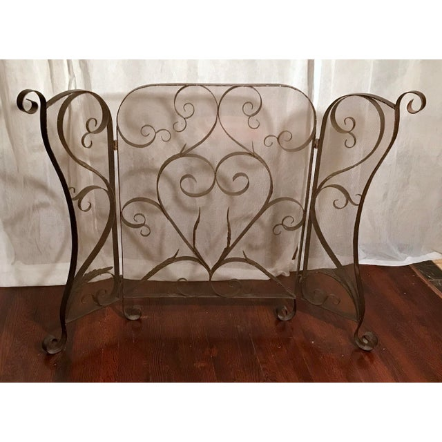 Gorgeous Mid Century, Wrought Iron, Spanish Revival, Scroll Work Three Panel, Fireplace Screen. Scrolled Carved leaf...
