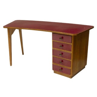 1950s Mid-Century Modern Oak and Red Laminate Writing Desk For Sale