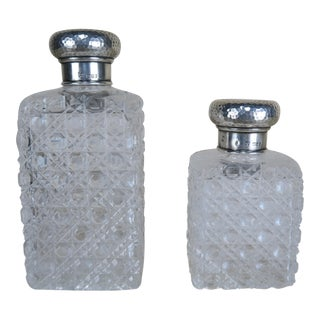 Set of Crystal Bottles w/ Sterling Tops For Sale