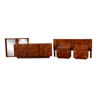 Vintage Mid-Century Modern Paul Evans Style Bedroom Set - 5 Pieces For Sale