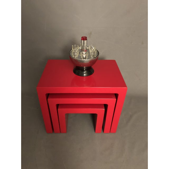 Mid Century Glossy Lacquered Red Waterfall End Tables- 3 Pieces For Sale - Image 12 of 13